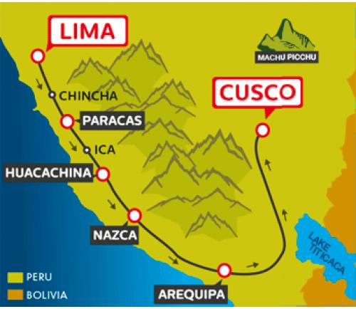 Huacachina Peru Map.Tourist Bus Lima To Paracas To Huacachina To Arequipa To Cusco Peru