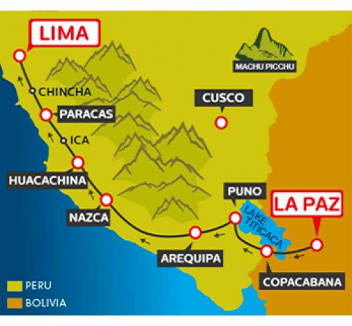 Huacachina Peru Map.Tourist Bus La Paz To Copacabana To Puno To Arequipa Via Nasca To