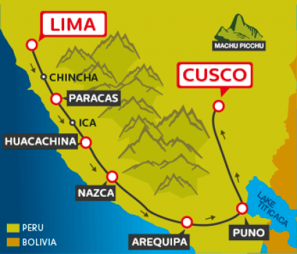 Tourist Bus Lima to Paracas to Huacachina to Arequipa to Puno to Cusco (Peru Hop)