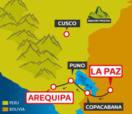 Tourist Bus La Paz to Copacabana to Puno to Arequipa (Bolivia Hop)